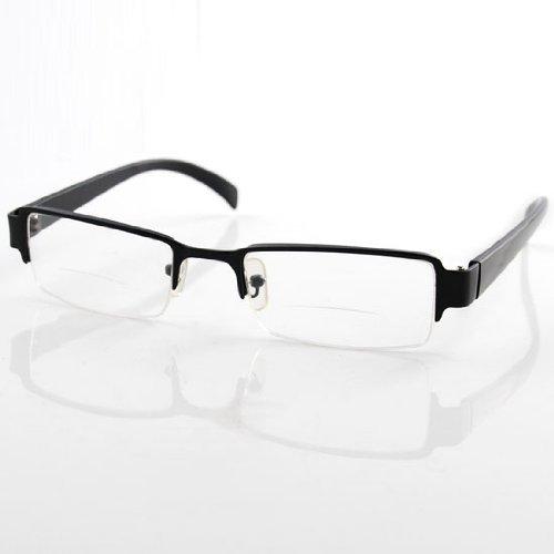 Frame Unisex Bifocal Presbyopic +2.50 Gent Mens Designer Style Aluminum Black - Glasses For Nose Pads Piece One