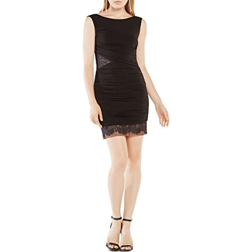 BCBG Max Azria Womens Renay Matte Jersey Ruched Cocktail Dress Black 6
