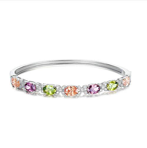 - ANAZOZ Silver Bracelet for Women 925 Silver-16.5 Crystal Oval Cubic Zirconia Women Bracelet Charms