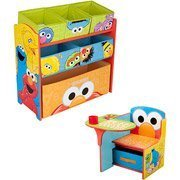 Sesame Street Desk and Multi Bin Organizer Bundle - Elmo Desk