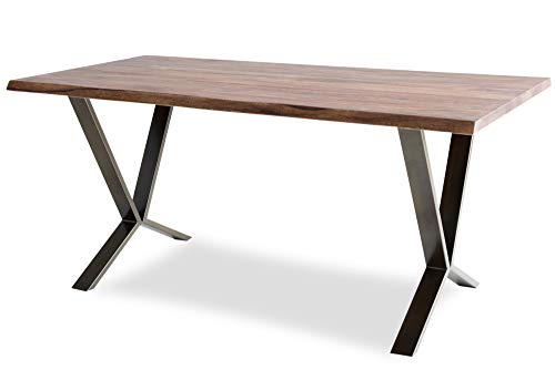- Edloe Finch Trevino Live Edge Dining Table Solid Wood Mid-Century Modern, Brass Legs