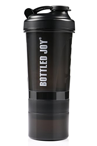 Shaker Bottle Protein Sport Fitness Water Cup with 3-Layer Twist and Lock Storage BPA-Free Leakproof Nutrition Supplements Mixer Shake Bottle Black