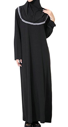 Lace Womens Abaya Maxi Dress Hoodie Domple Gray Muslim East Middle Islamic Trim qOZUCAw