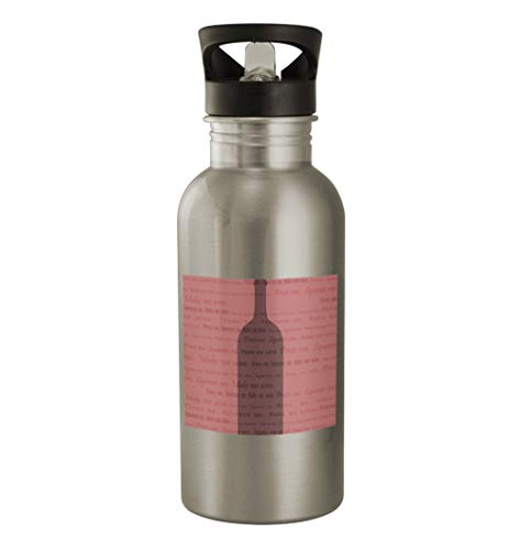Rose Wine #103 - Funny Humor 20oz Silver Water Bottle ()