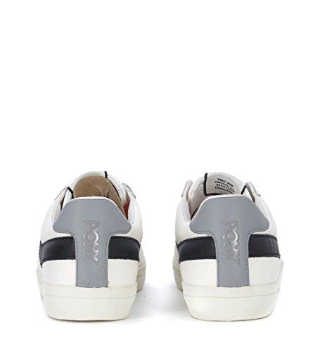 Ponni Menns Hvit Og Sort Skinn Sneaker Hvite