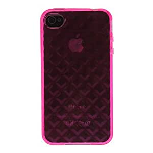 YULIN Patrón transparente Rose Funda TPU del diamante 3D para el iPhone 4/4S