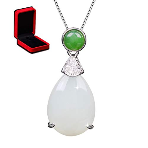Sterling Silver Jade Necklace, Teardrop Shape White Jade Green Agate Pendant with 925 Sterling Silver Chain 18''