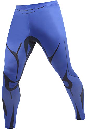 (RF Men's 3D Compression Skin Tight Anime Printing Pants - Film Super-Hero Series Compression Underwear Blue)