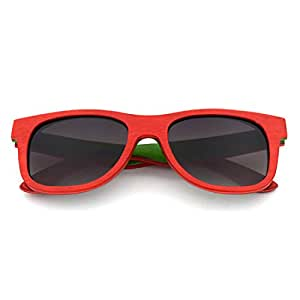LUKEEXIN Unisex-Adult Colorful Wood Retro Style Handcraft Rimmed Sunglasses Colored Lens UV400 Protection (Color : Red)