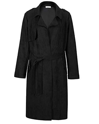 - NOBLEMOON Women's Cardigan Outwear Long Sleeve Lapel Trench Coat Suede (Large, Black)