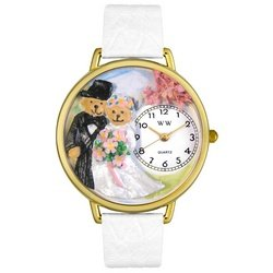 Whimsical Watches Unisex G1340002 Teddy Bear Wedding White Leather Watch