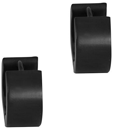 Surgical Steel Black IP Plated Thick 1/4 Inch Huggie Hoop Earrings for Men