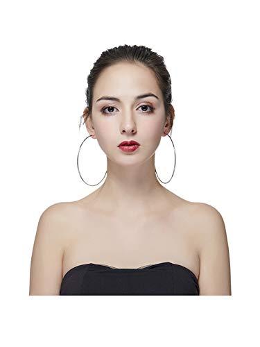 Hypoallergenic Extra Large Basketball Hula Hoop Earrings for Women Men - Big Thin Hoop Earrings (Silver, 100)