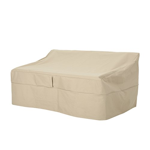Charlene Outdoor 60'' by 35'' Waterproof Loveseat Cover, Beige by Great Deal Furniture (Image #4)