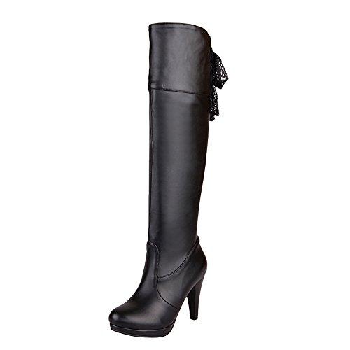 Mee Shoes Damen reizvoll Reißverschluss mit Lace langschaft Stiefel Schwarz