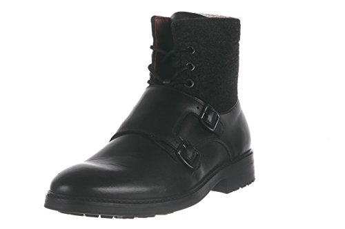 Armani Jeans Mens Monk Strap Combat Boot Black