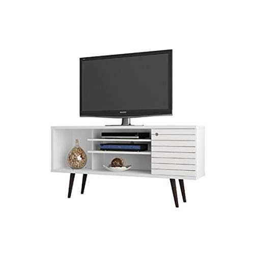 Manhattan Comfort Liberty Collection Mid Century Modern TV Stand With One Cabinet and Two Open Shelves With Splayed Legs, White/Wood (Tv Stand Corner Wood White)
