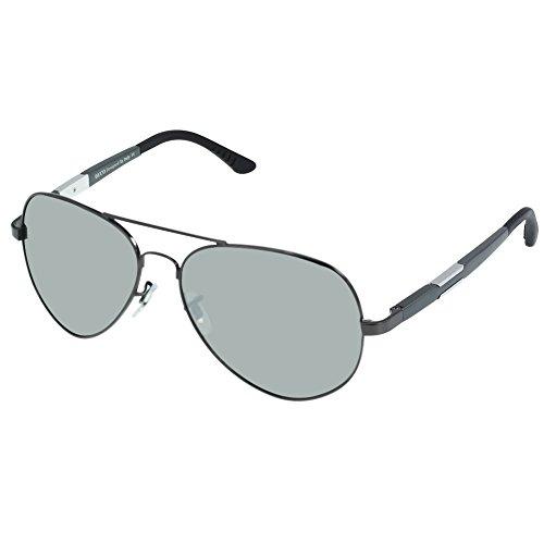 DUCO Premium Pilot Style Polarized Sunglasses 100% UV protection 3026 (Gunmetal Frame Silver Lens, ()