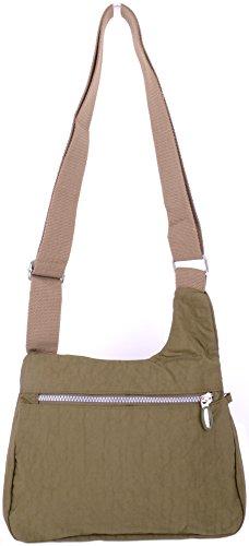 Bag Green Shoulder Womens Nylon Body Cross Ladies Crinkled AYOq0nqP