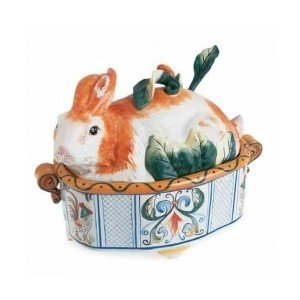 Fitz and Floyd Ricamo Rabbit Design Covered Vegetable and Soup Tureen with ()