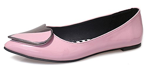 Aisun Women's Daily Pointy Toe Low Cut Flat Loafers Pink MulRj2Gri