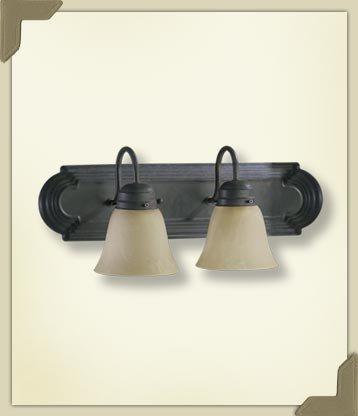 - Quorum International 5094-2-144 Vanity Lights with Alabaster Swirl Glass Shades, Toasted Sienna