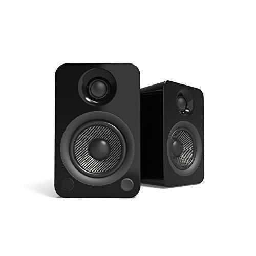 Altavoces activos Kanto YU4 con preamplificador de fono y Bluetooth, negro brillante