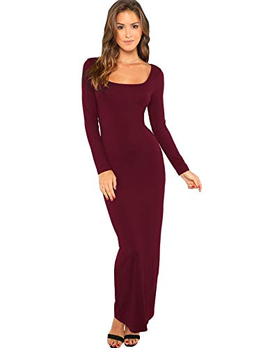 Verdusa Women's Long Sleeve Square Neck Bodycon Maxi Long Dress Burgundy XS (Square Womens Neck Dresses)