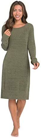 Barefoot Dreams CozyChic Ultra Lite Long Sleeve Dress, Casual Gown, Loose Vacation Dress