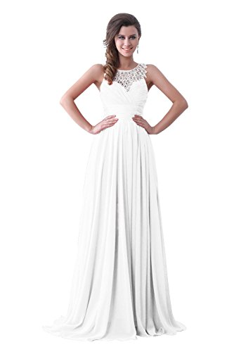 Dora Bridal Floor Length Chiffon Long Evening Party Prom Maxi Dress Size 18W Us White