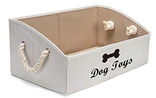 Geyecete Large Dog Toys Storage Bins - Foldable Fabric Trapezoid Organizer Boxes with Cotton Rope Handle, Collapsible Basket for Shelves, Dog Toys, Dog Apparel & Accessories£¬Dog Diaper (Beige)