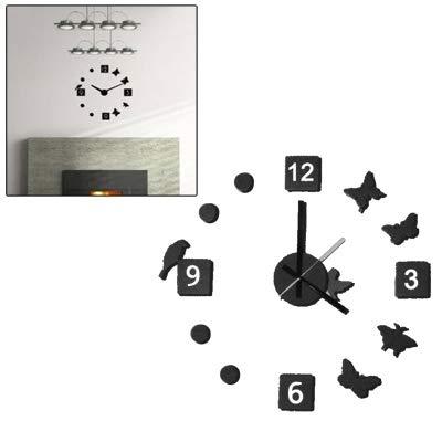 GROSSARTIG Fashion Design Novelty DIY Modern Art Design Wall Clock Timepiece with Foam Butterfly & Bird Markers Home Decor
