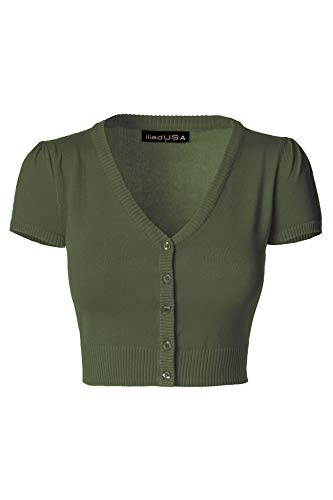 iliad USA 7025 Womens Button Down Short Sleeve Bolero Cropped Cardigan Sweater Olive Small ()