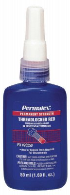 Permatex 26250 Red Permanent Strength Threadlockers, 50 mL, 1 in Thread, 1.69 oz, Bottle by Permatex