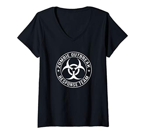 Womens Zombie Outbreak Response Team - Funny Halloween Costume V-Neck T-Shirt]()