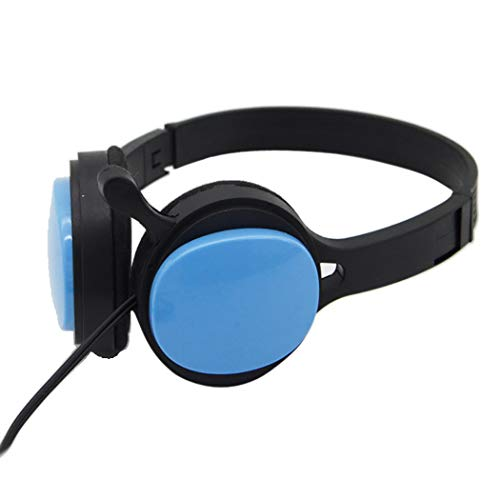 RYRYBH Head-Mounted Noise Canceling Headphones, Mobile Phone Tablet Universal Cartoon Mp3 Wired Headset Headset (Color : Blue)