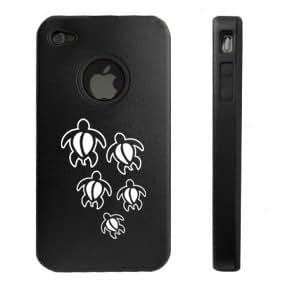 Apple iPhone 4 4S 4G Black D128 Aluminum & Silicone Case Swimming Turtles