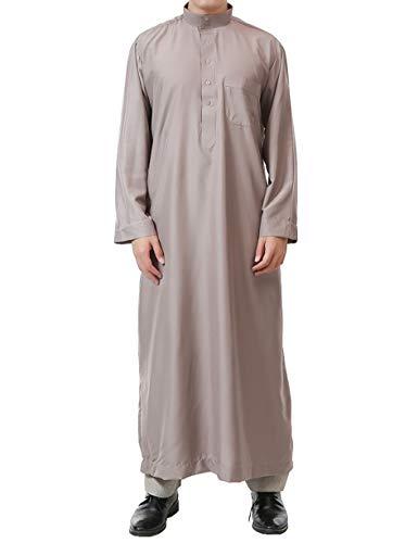 Muslim Mens Clothing Arabic Dresses-Plus Size East Islamic Clothing Long Abaya Kaftan Maxi Cotton Robe (Khaki,58)