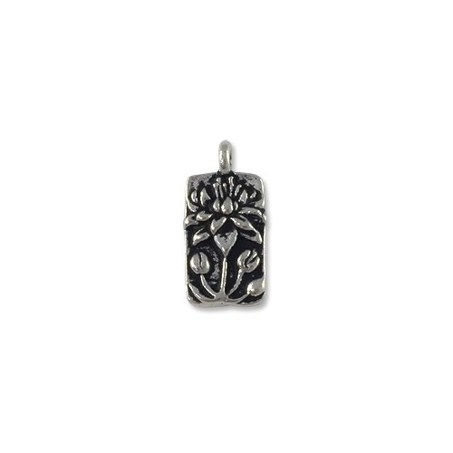 Charm for Jewelry Making - Floating Lotus 9x17mm Pewter Antique Silver Plated (1-Pc)