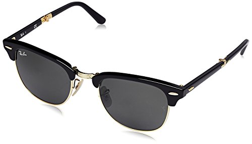 Ray-Ban Unisex-Adult Clubmaster Folding 0RB2176 Square Sunglasses, BLACK, 51 - Ban Amazon Eyeglasses Ray Clubmaster