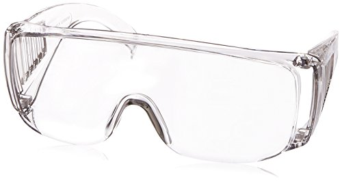 Morris Products High Impact Safety Glasses, Goggles - Fits Over Prescription Glasses - Clear Frame, Lens, Max UV Protection - Side Shields, Anti-Glare Brow Guard, Scratch Resistant