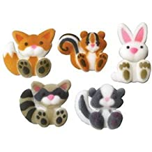 Woodland Animals Assortment Edible Sugar Decorations for Cakes and Cupcakes/Food Decorations 24 count