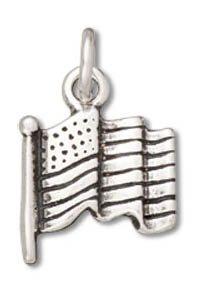 Usa Flag Charm - Sterling Silver Polished Small American Flag Charm Pendant