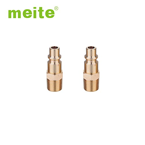 3/8' Body 1/4' Thread - meite UO1-PM2 Industrial Milton Type 1/4'' NPT Thread Brass Male Quick Coupler Plug Pipe Fitting Air Hose Connector Fitting (5 Packs)