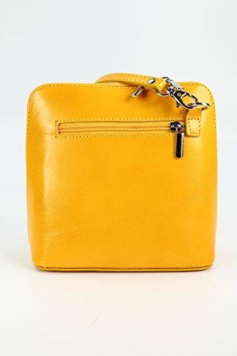 x Shoulder Small bag Bag elegant x Yellow shoulder 17 x 8 x 5 16 Leather and Women's practical W D CM 5 H Italian 1pW4n4