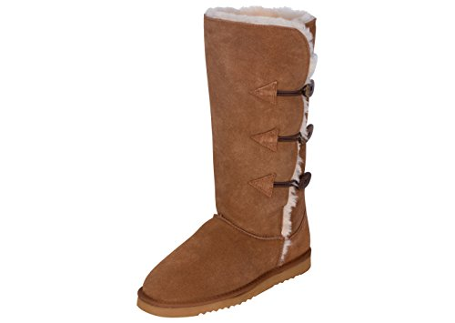 Kemi Classic Emily Triplet Toggle Ladies Winter Snow Boots - Fashionable Winter Boots for Women (6 B(M) US, Chestnut)