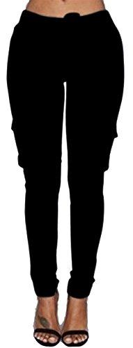 Pantalone Donna Vita Elastica Con Coulisse Monocromo Tempo Libero Pantaloni Eleganti Fashion Elasticit