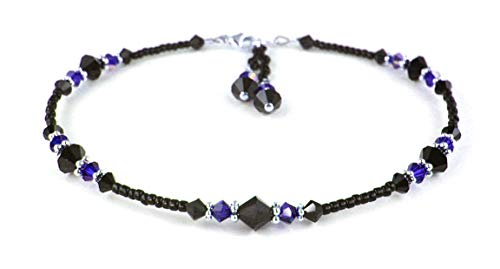 (DAMALI Sapphire Anklets for Women, September Birthstone Jewelry, Handmade Beaded Swarovski Crystal Ankle Bracelets Ankle Bracelets 10.5 Inch)
