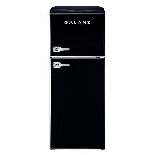 Galanz - Retro Look Refrigerator, 4.6 Cu Ft Refrigerator Dual Door True Freezer (RETRO), ESTAR Black