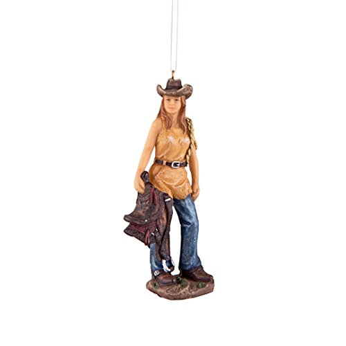 Rodeo Christmas Ornament (Cowgirl with Saddle Resin Hanging Christmas Ornament)